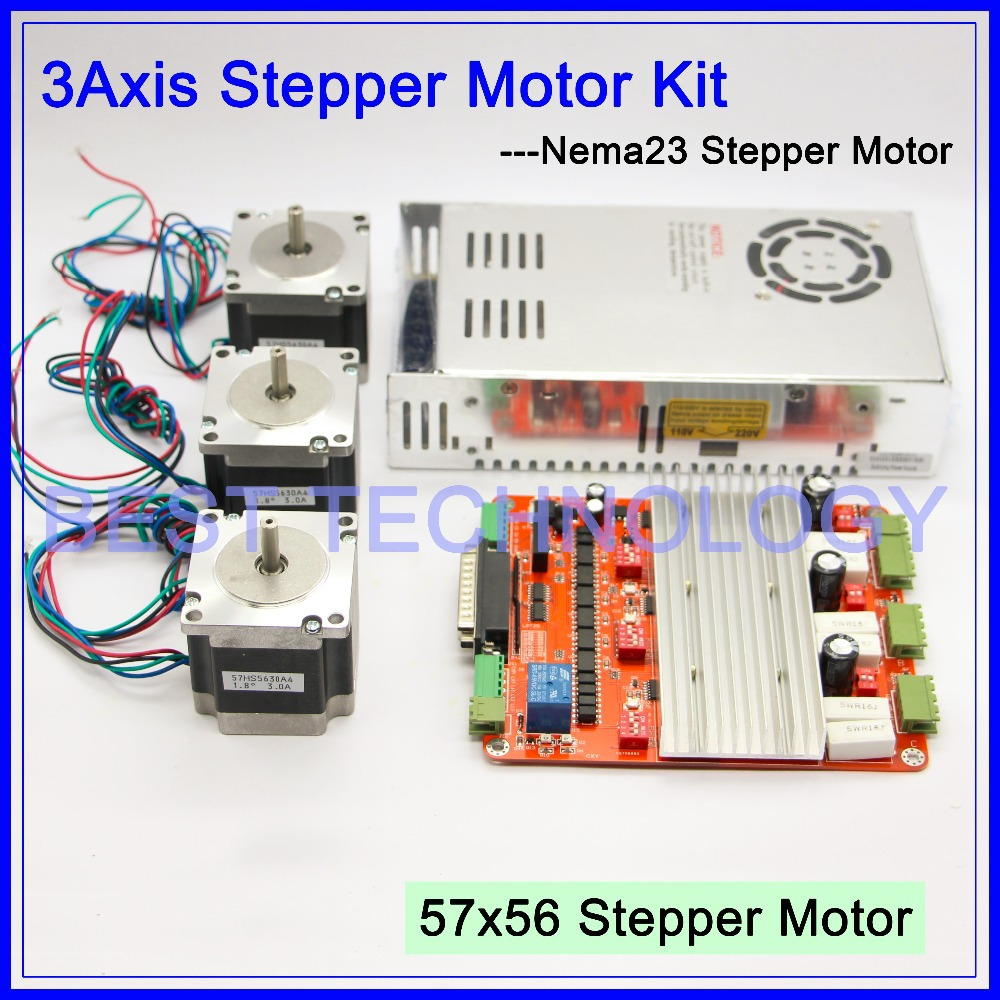 3Axis CNC controller kit  3PCS Nema23 CNC stepper motor  57x56mm + CNC  Driver  Control board 2.5A,12-36V + 250w power supply cnc mach3 usb 4 axis kit 3pcs tb6600 stepper driver mach3 usb stepper motor controller board 3pcs nema17 motor power supply