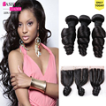 3 Bundles Malaysian Loose Wave With Closure Hair Bundles Malaysian Virgin Hair Loose Wave With Closure Curly Weave Human Hair