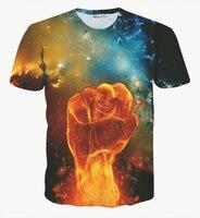 Marque de mode Vêtements 2017 Été Nouveau Feu Fist 3D Pring Homme T-shirt Étoilé Ciel Homme Tops Tee Taille S-XXL XXXL
