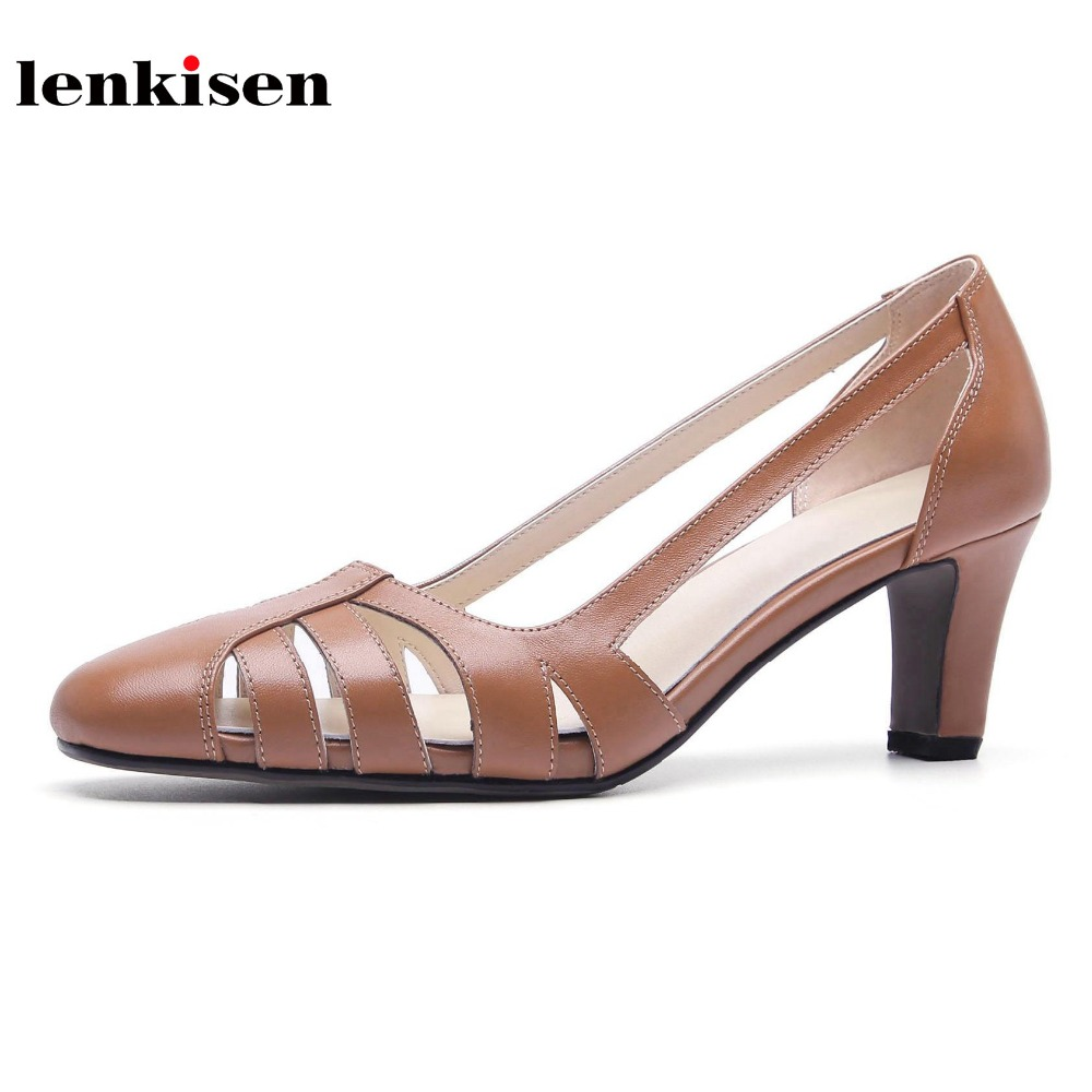 Lenkisen 2018 cow leather thin high heels round toe women sandals office lady simple classic style hollow solid summer shoes L92 krazing pot 2018 cow leather simple design breathable high heels hollow women pumps round toe brown white color brand shoes l92