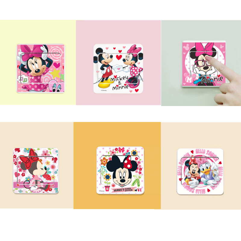 6pcs Cartoon Mickey Mouse Minnie mouse Switch Panel Stickers Home Decor Living Room Wallpaper Fashion Series stickers