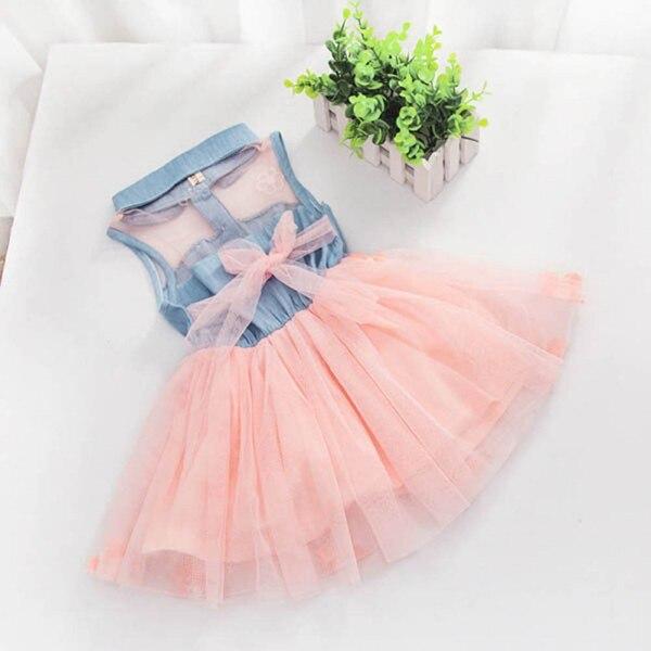 Summer Girls Cute Princess Dress Children Baby Kids Denim Shirt Tulle Tutu Dress Clothes 2-7T 11