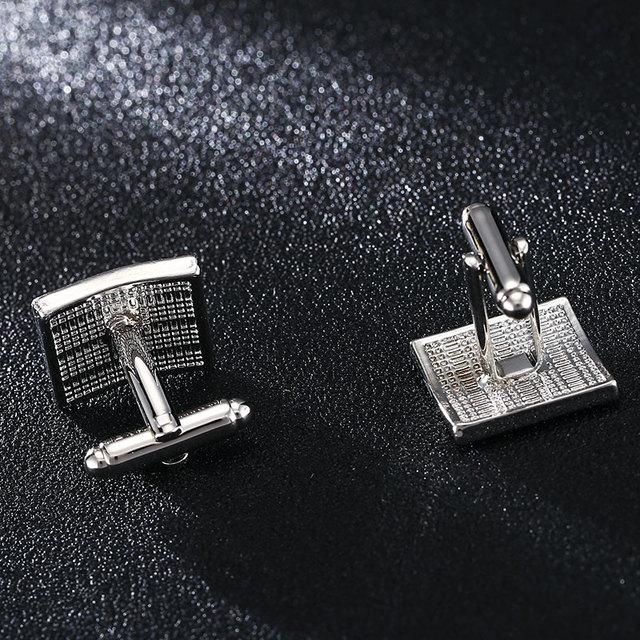 High Luxury Custom Silver Black Enamel Square Cufflinks Simple Style Business Shirt Cuff Button