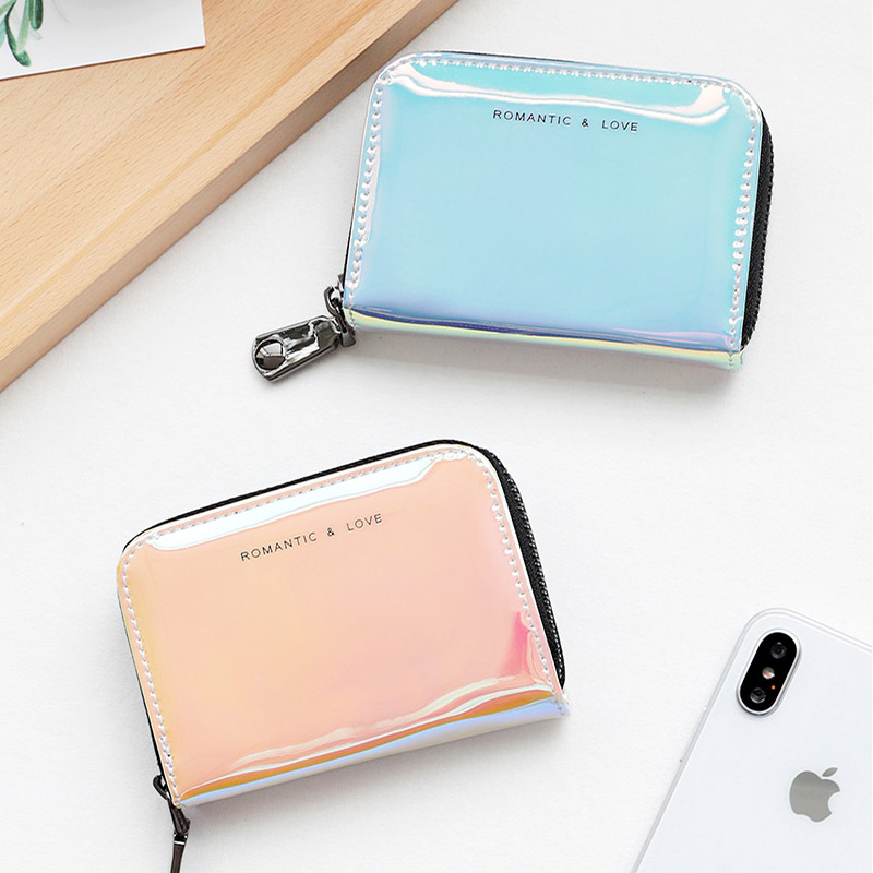 Womens Credit Card Holder ins Fashion Laser Clutch Wallet ID Credit Cards Holder Multifunction Organizer Purse men plaid pu leather wallet light bifold fashion designer credit cards holder clutch id card organizer brand purse for men phd08