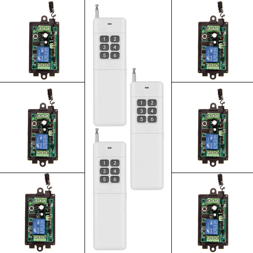 цена на 3000m Wide Range DC 9V 12V 24V 1 CH 1CH RF Wireless Remote Control Switch System,6CH Transmitter + Receiver,315 / 433 MHz
