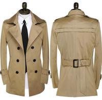 Khaki New Designer Slim Double Breasted Trench Coat Men Overcoat Long Sleeve Mens Clothing Fashion Business