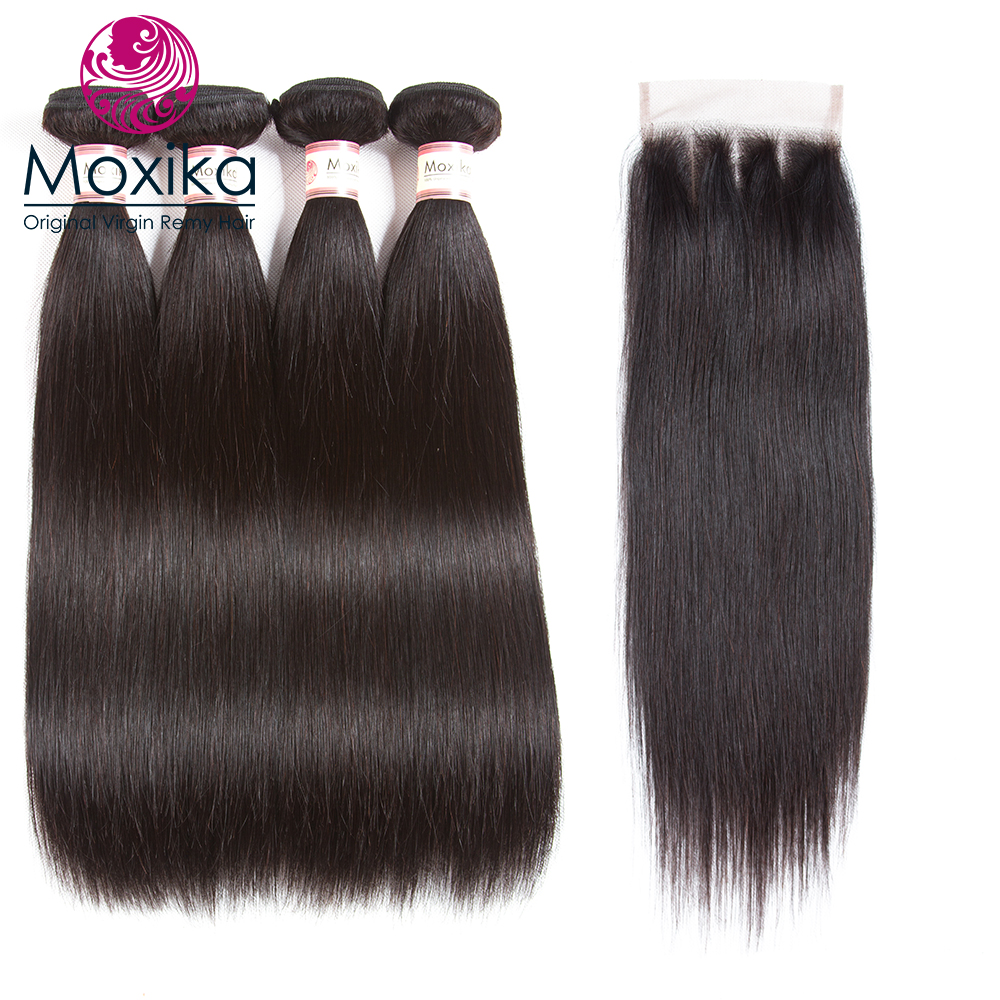 Moxika Brazilian Hair Weave Bundles Straight Human Hair 4bundles With Closures 5pcs/lot 8-28inch Three Part Remy Drop Shipping