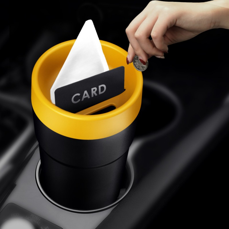 Car Multi Functional Storage Simple Design Bucket Storage Box Storage Tube Car Tissue Box Car Trash Can For Car Supplies