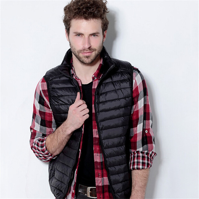 Men's Vest Ultra Light Duck Down Vest  Sleeveless Jacket Gilet Men's Waistcoat veste sans manche colete masculino