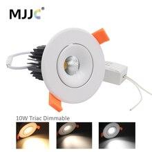цена на Triac Dimmable LED Downlights COB 10W 110V 220V 230V AC Spot Lamp LED Down Lights Recessed LED Ceiling Downlight