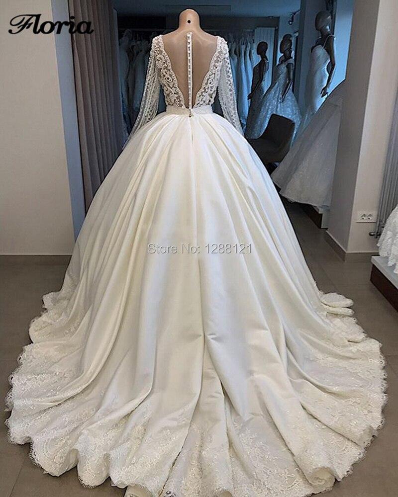 De luxo Vestidos de Casamento 2019 Robe De Dubai Mairee Lace Sheer Sexy Back V Pesados Pérolas Bola Vestidos de Noiva Vestidos de Casamento kaftans Novo - 2