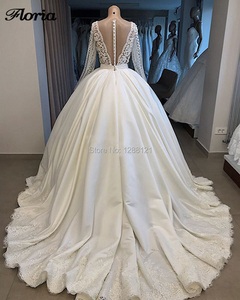 Image 2 - Luxury Dubai Wedding Dresses 2019 Robe De Mairee Sheer Lace Sexy Back V Heavy Pearls Ball Gowns Bridal Wedding Gowns Kaftans New