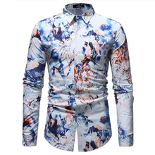 New Tops Mens Casual Floral Shirt Classic Fantasy Flower Printed Dress Male Long Sleeve Fashion Spring Autumn Shirts
