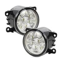 2Pcs Right Left Fog Lamp 55W 9 LED Round Front DRL Daytime Running Lights 4F9Z 15200