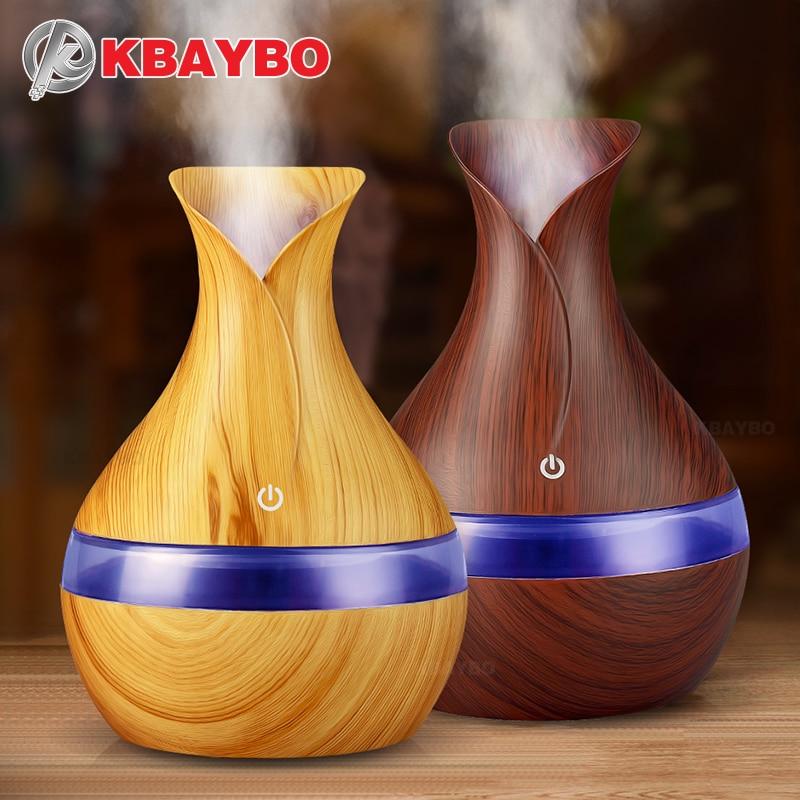 KBAYBO 300 ml USB eléctrico Aroma difusor de aceite esencial ultrasonido humidificador de aire madera grano LED aroma difusor para el hogar