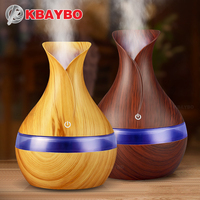 KBAYBO 300ml USB Electric Aroma Essential Oil Diffuser Ultrasonic Air Humidifier Wood Grain LED Lights Aroma