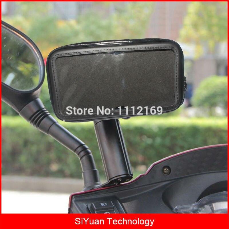 360 градусов Регулируемый мотоцикл скутер зеркало заднего вида Водонепроницаемый чехол для телефона держатель для 6.3 дюймов смартфонов