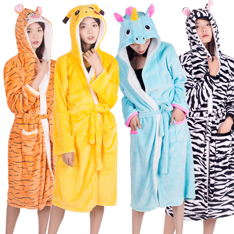 Adults Animal Flannel Bath Robe Women Men Sleepwear  Couple Bathrobe Thick Warm Robe Winter Panda Unicorn Pajamas Dressing Gown