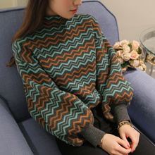 Фотография 2017 autumn stripe sweater lantern sleeve loose sweater Semi-high collar sweater