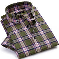Men S Checked Short Sleeve Contrast Plaid Dress Shirts Comfortable Linen Cotton Regular Fit Thin Casual