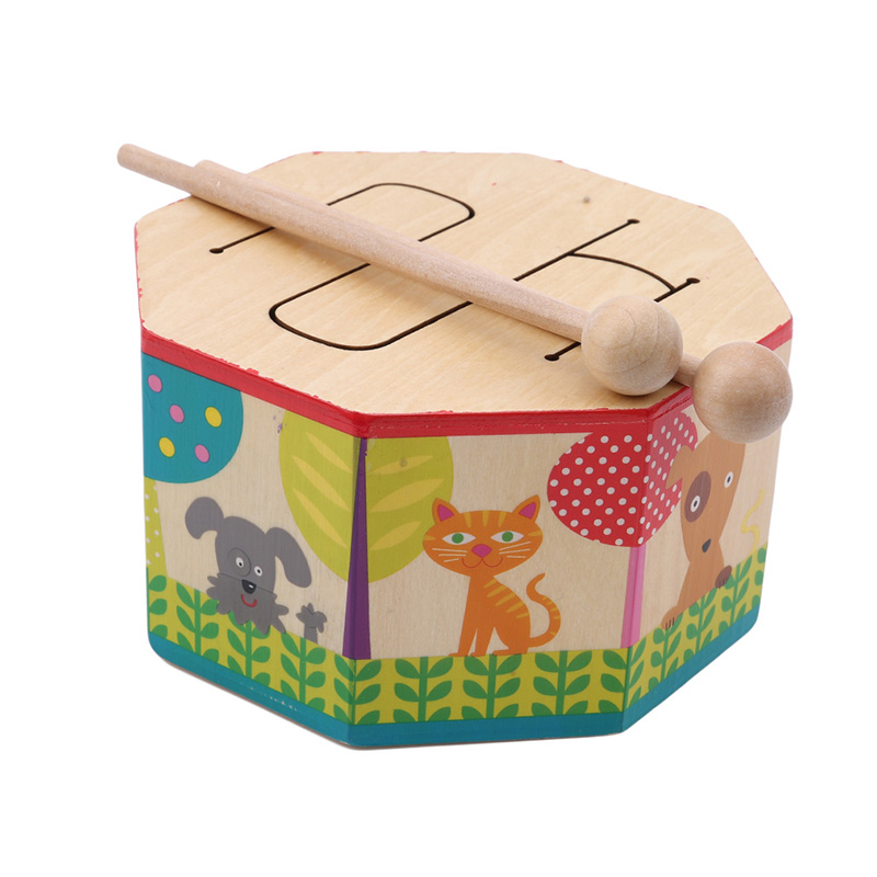 Percussion Instrument Educational Toys Wooden Teaching Instrument Drum Early Education Toy Octagonal Music Drumming For Children