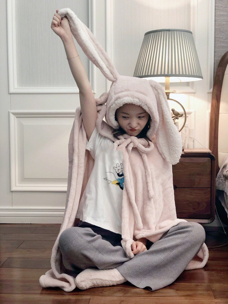 Cute Pink Comfy Blanket Sweatshirt Winter Warm Adults and Children Rabbit Ear Hooded Fleece Blanket Sleepwear Huge Bed Blankets 72