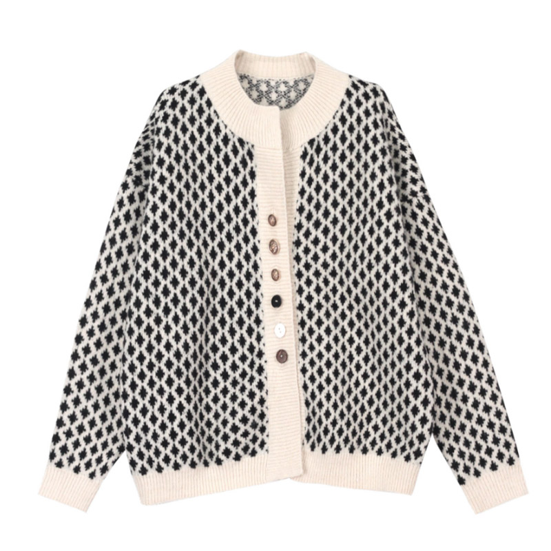 2019 O Neck Women Cardigan Sweater Fashion Fine Rhombic Color Matching Delicate Copper Buckle Female Sweater Spring Autumn M080