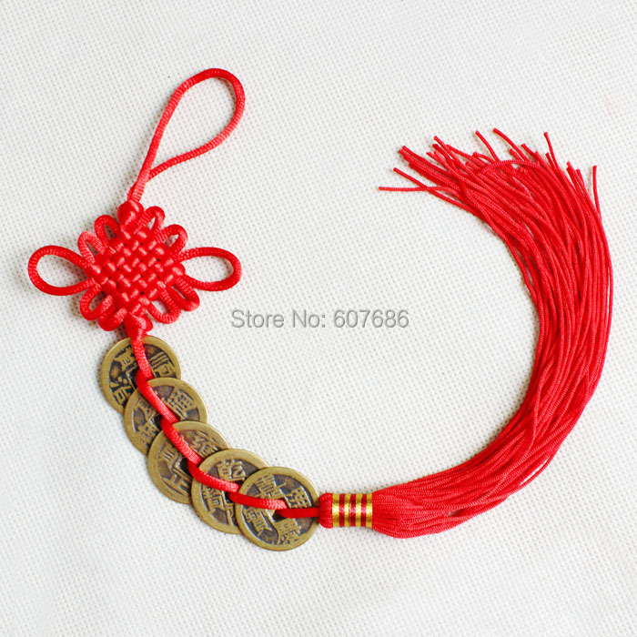 Wholesale 30 Pieces Decorative Old Antique Chinese Emperor Coin Chinese Knot  with Tassel Free Shipping Home Wall Decoration New