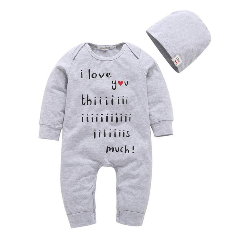 Newborn Babys Boys Girls Rompers Cute Letters Printed Long Sleeve Round Neck Jumpsuit with Hat Outfit Clothes 2 Pcs Clothes Sets