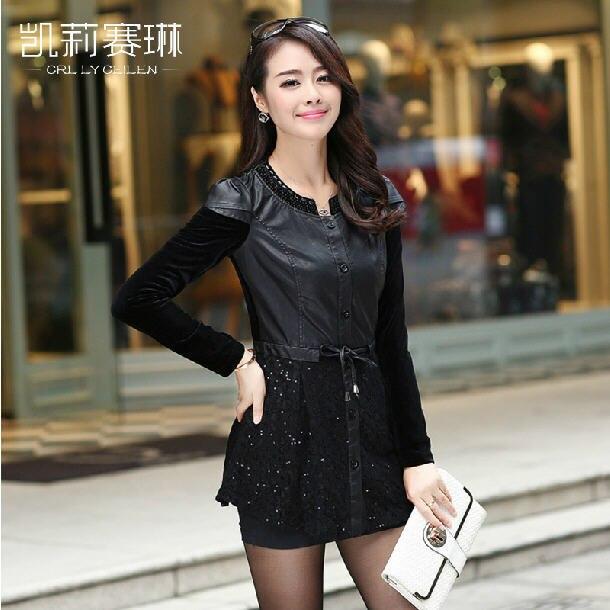 Women Black Leather Jacket 2016 Medium Long Female O-Neck Patchwork PU Leather Jackets Plus Size Overcoat Free Shipping A224