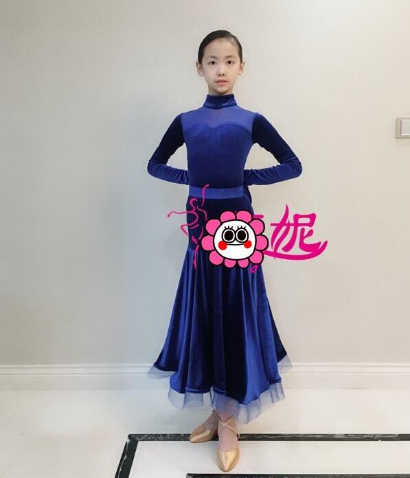 customize  girl juvenile modern dance costumes kids ballroom dance dresses standard ballroom dancing clothes blueJ23