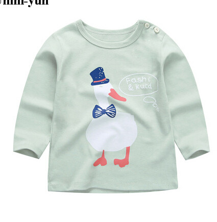 2016 Brand New Spring&Autumn Kids Tshirt 100%Cotton Jersey allover duck print Long Sleeves boys girls baby T shirts pullover