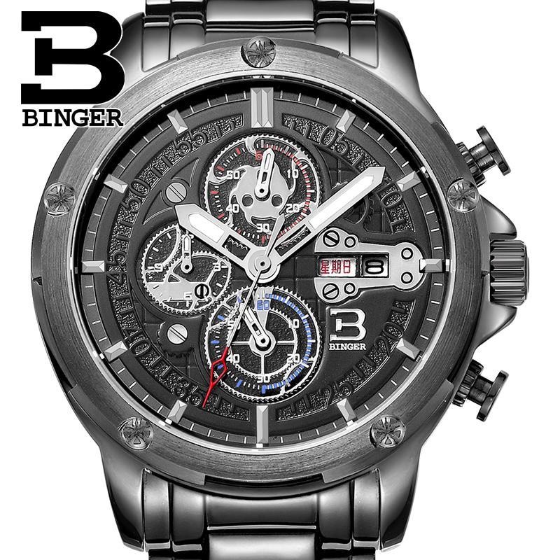 Switzerland watches men luxury brand clock BINGER Quartz men's watch full stainless steel Chronograph Diver glowwatch B6009-2