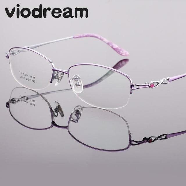 db8135a52a5c Viodream Ultra Light Pure Titanium half Eyewear Glasses Frame Women  Eyeglasses Prescription Myopia reading frame Oculos De Grau