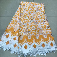 Hot sale wonderful Design Orange Water Soluble lace with Rhinestones Good quality And Free Shipping African Lace fabric W5