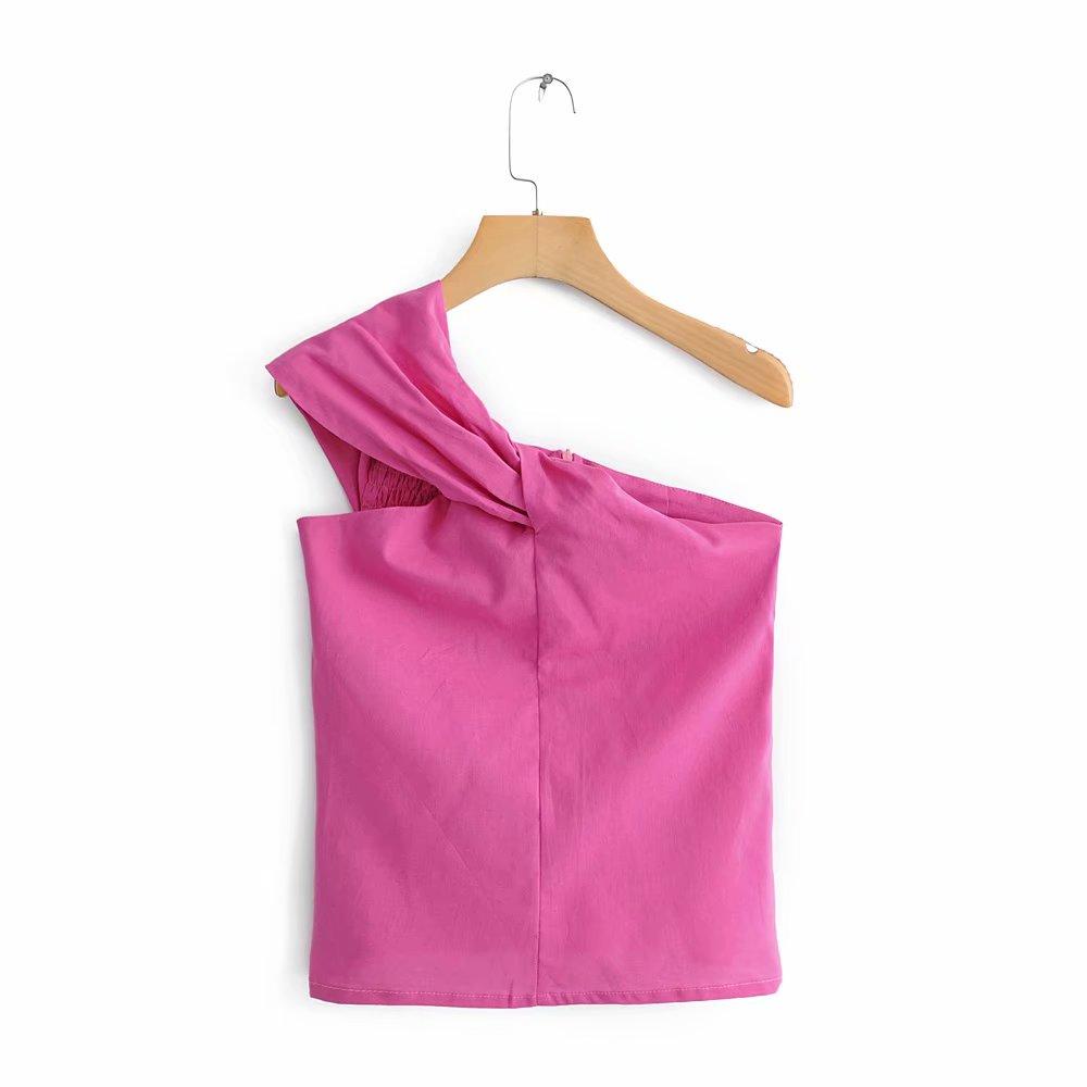 Women Sexy Bowknot Decoration Irregular Sleeveless Blouse Shirts Women Summer One Shoulder Chemise Elastic Blusas Tops LS3858