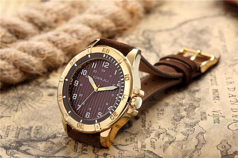 CRRJU למעלה מותג יוקרה ספורט שעון יד גברים של קוורץ שעון עור רצועה עמיד למים גברים של שעון גברים שעון Reloj hombre