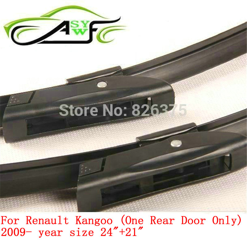 """Free shipping car wiper blade for Renault Kangoo (One Rear Door Only) (2009 onwards) 24""""+21"""" Soft Rubber WindShield Wiper Blade"""