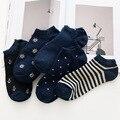 5 pares de alta qualidade de algodão meias invisíveis blue stars stripes anchor soild tornozeleiras homens curto tornozelo meias chaussette courte homme
