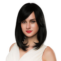 BLONDE UNICORN 14 Inch Straight Hair Bob Cut Wig with Side Fringe Black Color Blend Hair Wig for White Women Free Shippping