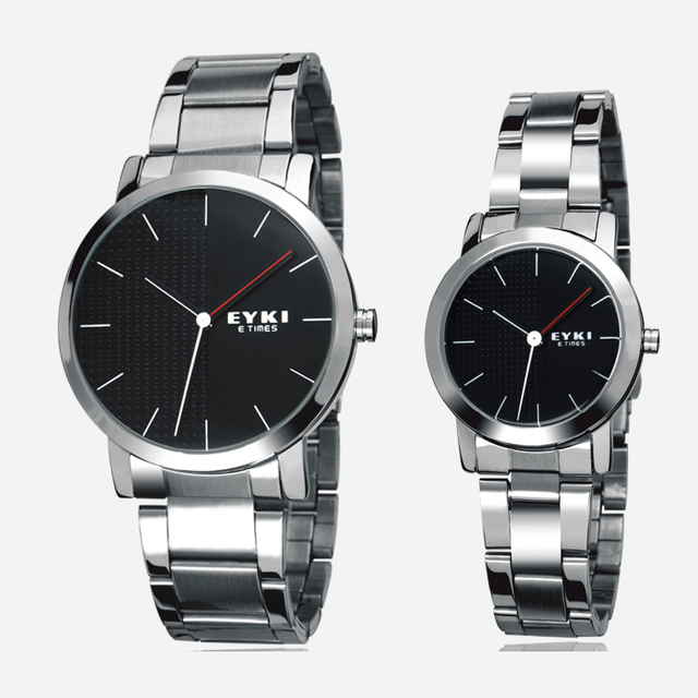 2016 New Arrival Eyki Brand Steel Strap Couple Tables Fashion Formal Waterproof Quartz Watch Lovers Watch Business Watches Gift
