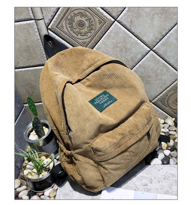 HTB1YquAKkyWBuNjy0Fpq6yssXXa5 Women Striped Corduroy Backpack Female Eco Simple Cloth Bag Large Capacity Vintage Travel Bags School Backpack for Teenage Girls