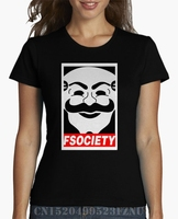 Brand Clothing Real Special Offer Women T Shirt Mr Robot Fsociety Short O Neck Print Knitted