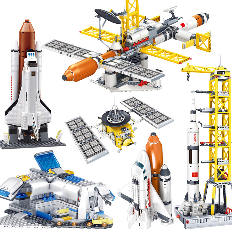 Spaceship Launcher Rocket Satellite Building Bricks Toys Construction Blocks Kit