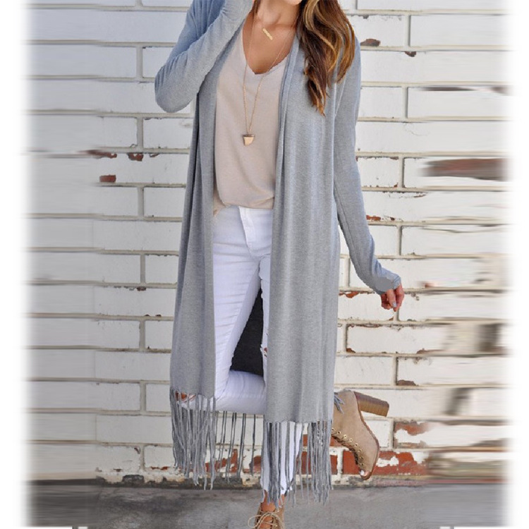 New Tassel Long Sleeve Long Sweater Cardigan Conditioning Blouse