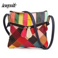 AEQUEEN Women Shoulder Bag Spring Patchwork Vintage Crossbody Small Bags Genuine Leather Ladies Messenger Bags Random Color