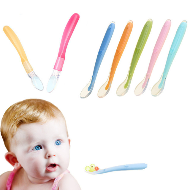 1 Pc de silicona cuchara para bebé niño infantil niños de sopa de arroz cuchara de alimentación libre de BPA bebé utensilios de suministros envío de la gota