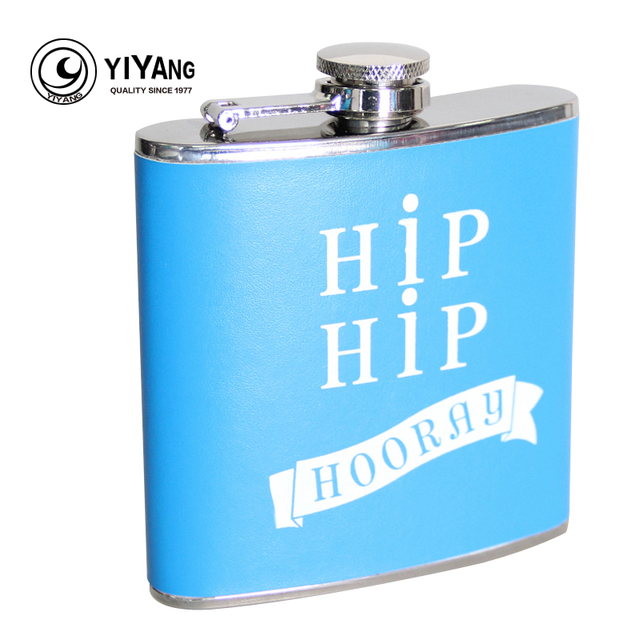 Outdoor Portable 6oz Stainless Steel Leather Wrapped Sky Blue Images Flask For Alcohol  Liquor Whiskey Drinkware Flagon