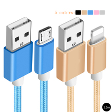 metal nylon braided 1.5m mobile phone cables long charger micro usb cable For iPhone 5 5s 6 6s plus Samsung sony android phones