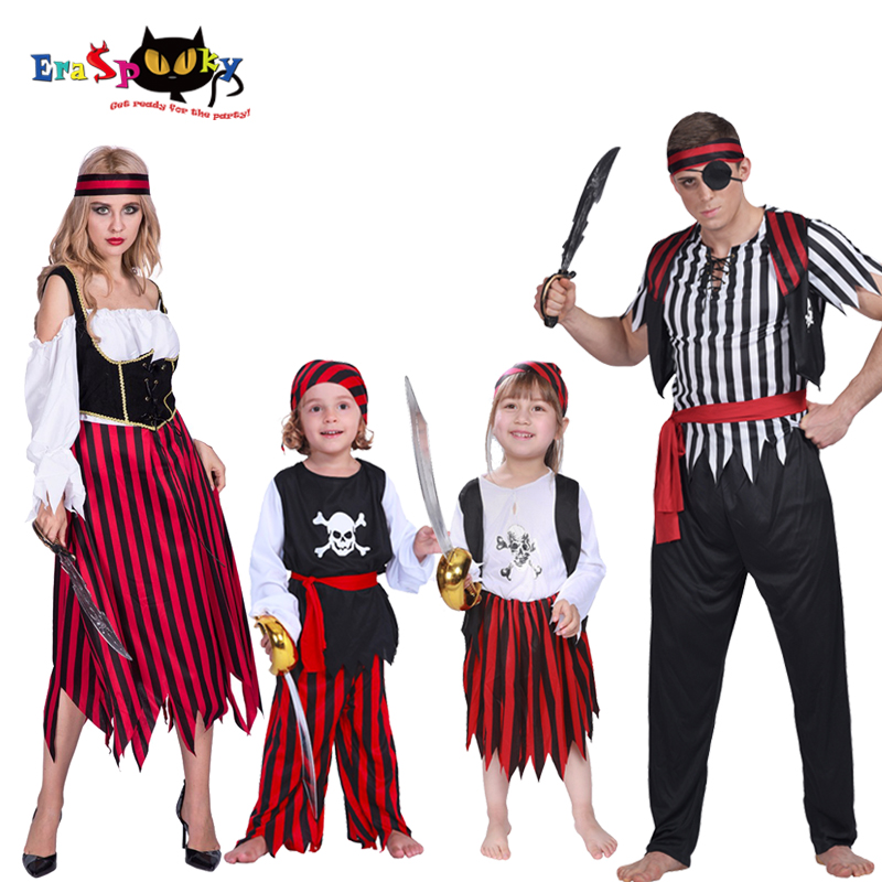 Boys Pirate Costume Halloween Costume Adult Carnival Party Jack Sparrow Cosplay Kids Skull Caribbean Family Matching Clothes